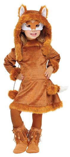 #121721 She'll be on the prowl this Halloween as the Sweet Fox. The Sweet Fox Costume includes a brown, fox inspired dress with fluffy plush tail and matching furry boot covers. The furry character ho