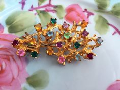 Vintage Sterling Gold wash Vermeil Brooch Coral Branches Tree Colored Rhinestone by Holliezhobbiez on Etsy