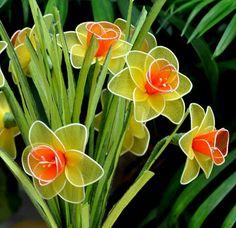 Set 3 individuales narcisos narcisos Narciso nylon amarillo