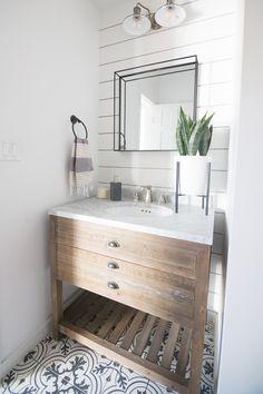 Patterned Tile Floors, Modern Bathroom and Bar Design Ideas, natural wood vanity, Restoration Hardware vanity, bathroom design, shelf mirror bathroom, shiplap, shiplap decor, shiplap bathroom, white shiplap, shiplap ideas, shiplap design ideas