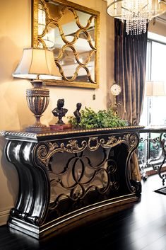 New Marge Carson Iron Console – Linly Designs Foyer Decorating, Tuscan Decorating, Old World Decorating, Decorating Ideas, Decor Ideas, Old World Furniture, Unique Furniture, Elegant Home Decor, Elegant Homes