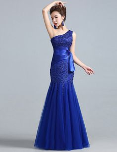Fit & Flare One Shoulder Floor-length Lace And Tulle Evening Dress – USD $ 89.99