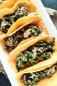 Vegan Crêpe Tacos with Warm Spinach-Mushroom Filling