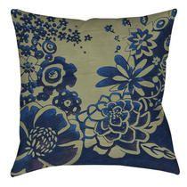 """Thumbprintz Kyoto Garden 3 Printed Polyester Throw Pillow - Size: 14"""" H x 14"""" W x 3"""" D"""
