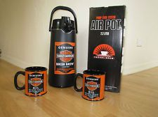 NEW Harley Davidson Coffee AIR POT airpot given to Dealer Only--RARE &2 mugs set