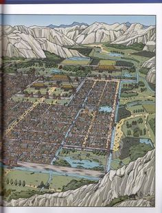 The city of Chang An (Han dynasty)  From Les Voyages d'Alix, Alix en Chine, by Jacques Martin, illus. Erwin Drèze