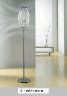 OTY CRYSTAL/CHROME FLOOR LAMP    Handmade family of fixtures that provide ambient and accent light    Materials | Handmade crystal diffuser, metal frames and fittings    Operation | Dimmer switch on cord