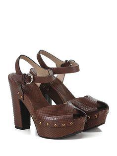 LENA MILOS - Sandalo alto - Donna - Sandalo alto in pelle effetto rettile vintage con cinturino alla caviglia e suola in gomma. Tacco 125, platform 45 con battuta 80. - T.MORO - € 285.00