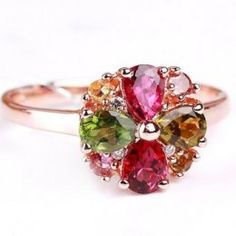 Fabulous Unique Rose Gold Plated Silver Tourmaline Flower Cocktail Ring