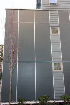 Fiber cement panels...nice. Fiber cement panels with plank accents...very nice. Fiber cement panels with plank accents and clear anodized (silver) EasyTrim Reveals...mind blowing!! Take building facade design to a whole different level with EasyTrim Reveals. #EasyTrimRevealsWhoWeAre