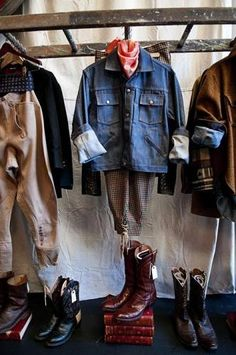 old ladder clothing display (neat idea for a closet) #rustic