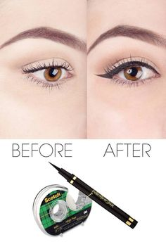to Use Scotch Tape to Perfect Your Liquid Eyeliner How to use scotch tape to perfect your liquid eyeliner. Get your eyeliner at .How to use scotch tape to perfect your liquid eyeliner. Get your eyeliner at . Eyeliner Hacks, Eyeliner Make-up, How To Apply Eyeliner, Perfect Eyeliner, Mascara, Black Eyeliner, Eyeliner Styles, Metallic Eyeliner, Eyeliner Application