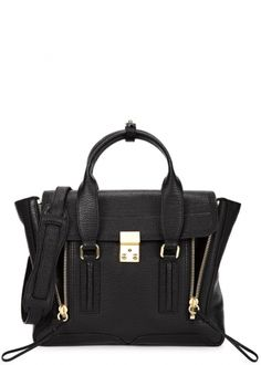 Pashli medium black leather satchel - Women