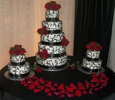 Another option.  Have coordinating satellite cakes to the side to serve more.  (Emily's cake looked similar to this.)