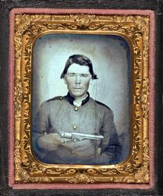 Unidentified soldier in Confederate uniform with Colt revolver. Ninth-plate tintype, hand-colored ; 7.4 x 6.1 cm (case)