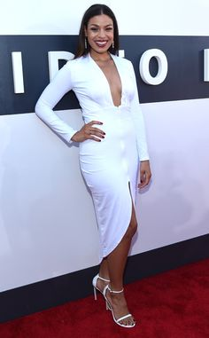 Jordin Sparks from 2014 MTV Video Music Awards Red Carpet Arrivals  The singer looked summery in an all-white ensemble with a deep v-neckline and a thigh-high slit.
