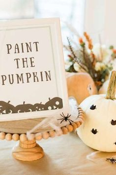 Check out this fun mint green Halloween party! The 'paint a pumpkin' party activity is fantastic!! See more party ideas and share yours at CatchMyParty.com