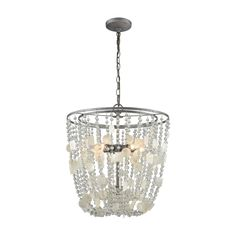 Alexandra 5 Light Chandelier In Weathered Zinc With Capiz Shells And Clear Crystal 15936/5