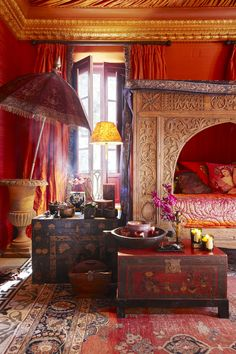Red bedroom. Gypsy boudoir marsala, and antique gold with maroon