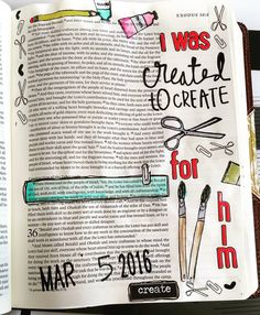 I finally got to use my new #illustratedfaith #createdtocreate stamps! <3 Exodus 35:31-32 is a great reminder that God gives us our talents and skills. We are each created by him and to do these things to glorify God.  #biblejournaling #documentedfaith #biblejournaling #journalingbible #studiocalico by mkbrockmann