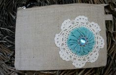 Burlap Zipper Bag w/ Doily and Turquoise Beaded Flower
