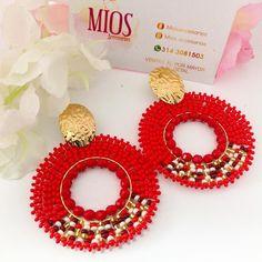 Red Earrings, Beaded Earrings, Earrings Handmade, Crochet Earrings, Hoop Earrings, Native American Beading, Chandelier Earrings, Bead Weaving, Wire Jewelry
