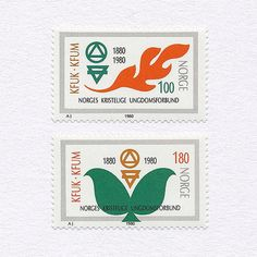 100th Anniversary of YWCA + YMCA (1.00Kr/1.80Kr). Norway, 1980. Design: A J. #mnh #graphilately | by BlairThomson