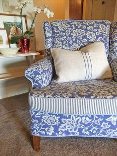 Cotton linen slipcover with ticking welt cord by Karen Powell.