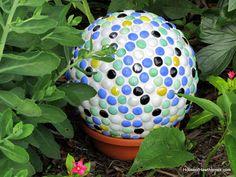 Turn a thrift store bowling ball into a piece of mosaic garden art - houseofhawthornes.com
