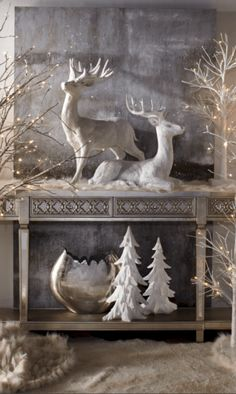 Beautiful White Christmas Decor Ideas on a Budget – christmas decorations Christmas Mantels, Noel Christmas, Country Christmas, Christmas Ideas, Vintage White Christmas, French Christmas Tree, Christmas Raindeer, Christmas Entryway, Woodland Christmas