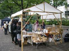 A brilliant modern day bamboo structure based off of an ancient design for a market stall.