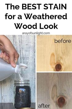 How to give wood a weathered look for your farmhouse style diy furniture projects and crafts! This DIY weathered wood stain creates the perfect grey weathered stain look when you don't have access or the budget for real weathered wood. Upcycle and redo furniture with weathered wood like a painted dresser with stained top, all weathered wood tables and chairs, DIY bedroom furniture and more! By A Ray of Sunlight #weatheredwood #furnitureredo #woodworking #farmhousestyle Weathered Wood Stain, Diy Wood Stain, Oak Stain, Distressed Wood, Diy Furniture Redo, Diy Furniture Projects, Bedroom Furniture, Farmhouse Furniture, Minwax Stain