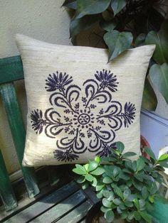 Medallion Cushion hand embroidery on slub silk by Ohanahomedecor, $26.00