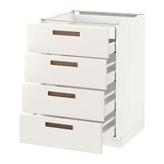 301 €_METOD / MAXIMERA Élt bas 4faces/2tiroirs bas+3moyens - blanc, Märsta blanc, 60x60 cm - IKEA