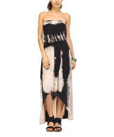 Black & Beige Tie-Dye Hi-Low Strapless Maxi Dress #zulily #zulilyfinds