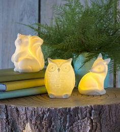 Ceramic Woodland Animal Night Lights Add a little light and whimsy to a children's room, bathroom, or around the house.