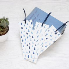 Segnalibro SET blu acquerello pioggia montagne fulmini modelli