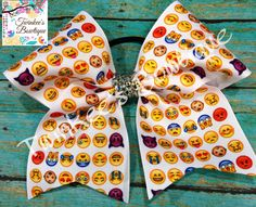 Emoji Emoticons Cheer Hair Bow by TwinkeesBowtique on Etsy
