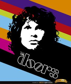 Jim Morrison Doors color stripes poster, Vector by Vector Open Stock License: Attribution ID: The Doors Jim Morrison, Tiki Totem, Best Rock Bands, We Will Rock You, Rock Design, Rock Posters, Diy Canvas Art, Color Lines, Painted Doors