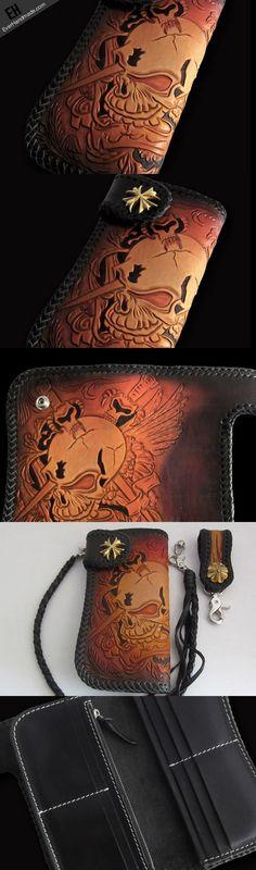 Handmade biker wallet Black Skull leather floral carved biker chain wa   EverHandmade