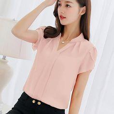 Bersun Women S Summer Tops Red White Pink Chiffon Blouse Shirt Women 2017  Short Sleeve Ladies Office ce7fd0c587a1
