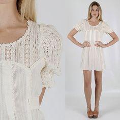 Vintage 70s Sheer FLORAL crochet lace puff sleeve hippie prairie boho gypsy mini Dress