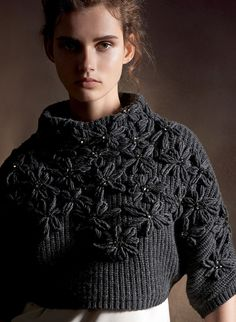 Brunello Cucinelli - knitted - but still - love the style of the jumpet and flower decorations Knitwear Fashion, Crochet Fashion, Brunello Cucinelli, Knitting Designs, Sweater Weather, Knit Patterns, Refashion, Pulls, Knit Crochet