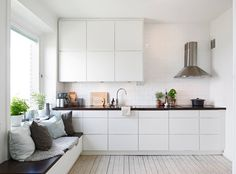 white sleek kitchen, subway tiles