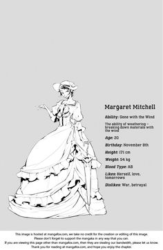 Bungo Stray Dogs | Mitchell Margaret - Ability: Gone With The Wind | Character Chart | Manga (Ch 23: Grapes of Wrath Ripened in the Eye, Pt 1) | SailorMeowMeow