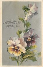 PFB Christmas~Unsigned Catherine Klein~Yellow Purple Pansies~Silver Back~Emboss