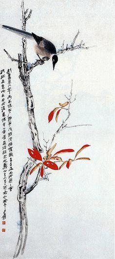 张大千-红叶喜鹊图轴 | Zhang Daqian (張大千, 1899-1983), original name Zhang Yuan (張爰)