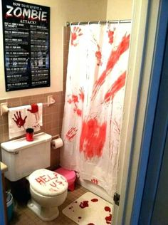 Scare the crap out of guests literally with these easy Bloody Halloween Bathroom Decorations for an epic party. Halloween Bathroom Decorations, Zombie Halloween Decorations, Backyard Party Decorations, Halloween Home Decor, Halloween Themes, Epic Halloween Costumes, Halloween Zombie, Bloody Halloween, Halloween Food For Party