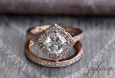 Rose Vintage Floral Cushion Cut Engagement Ring Set in 14k Rose Gold, Bridal Set,7x7mm Cushion Cut,Eternity Wedding Band by Sapheena