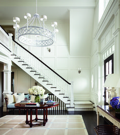 entry foyer with custom paneling and woodwork, large scale chandelier. Design by Alexa Hampton via Architectural Digest. Architectural Digest, Alexa Hampton, Interior Exterior, Interior Design, Interior Architecture, Design Interiors, Modern Interior, Design Entrée, Design Ideas